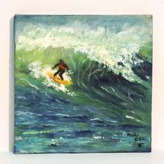 WAVE SURFING-Beautiful original seascape oil painting on canvas, one of a kind with very unique colors******* Now Free Shipping******** by GretaArts on Etsy