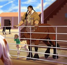 Rank is a centaur who raises two little girls and works a ranch.he is in kora's  enforcers team and is one of the oldest members in the group.his personality is tough and also kind.he has a western actsent and usually uses a rope as a tool.he was a war veteran with kora's father,Author.
