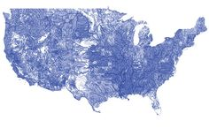 All the rivers in the continental US: An Explorable Map. See more at Visual News: www.visualnews.com/2013/06/24/all-the-rivers-in-the-continental-us-an-explorable-map/
