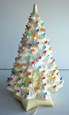 These remind me of my childhood! Vintage Ceramic Christmas Tree, Vintage Christmas Ornaments, Retro Christmas, Vintage Holiday, Christmas Past, Christmas Holidays, Christmas Crafts, Christmas Decorations, Christmas Things