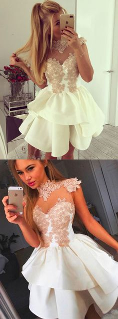 Cute A line lace short prom dress, white homecoming dress