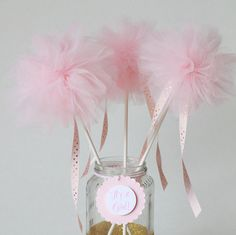 Pink Pom wands pink and gold baby shower by MyPaperRomance on Etsy
