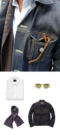 Sharpen up a denim jacket with a patterned silk scarf.
