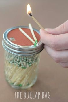 Put matches in a Mason Jar. Cut sand paper to fit the lid. Your matches will never get wet!!