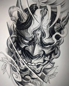 japanese tattoos symbols and meaning Oni Tattoo, Tattoo Geek, Shogun Tattoo, Irezumi Tattoos, Samurai Maske Tattoo, Hannya Maske Tattoo, Samurai Tattoo Sleeve, Japanese Demon Tattoo, Japanese Sleeve Tattoos