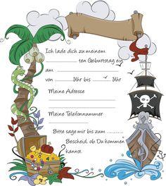 kindergeburtstag schatzsuche 5 jährige | kartenkunst und papier, Einladung