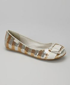 This Gold & Silver Apples Ballet Flat is perfect! #zulilyfinds
