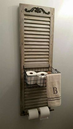 34 Ways Decorating with Old Shutters Can Make Your Home Charming Window Shutter Toilet Paper Holder Old Shutters, Repurposed Shutters, Farmhouse Shutters, Rustic Shutters, Small Shutters, Bedroom Shutters, Interior Shutters, Window Shutters Decor, Kitchen Shutters