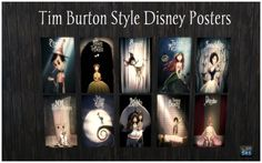 "sims-and-rebellion: "" Disney Posters (Tim Burton style) for TS4 Download @ Rebel Creators """