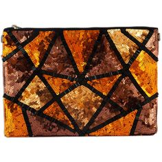 Amolika triangle sequins clutch ($40) ❤ liked on Polyvore featuring bags, handbags, clutches, sequin purse, sequin handbags, canvas purse, brown handbags and sequin clutches
