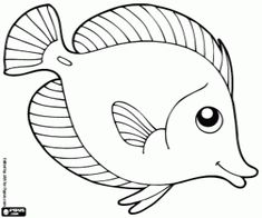 Tropical fish, surgeon fish coloring page printable game Ocean Coloring Pages, Fish Coloring Page, Pattern Coloring Pages, Coloring Pages For Kids, Fish Drawings, Art Drawings Sketches, Cute Drawings, Fish Template, Ceramic Fish