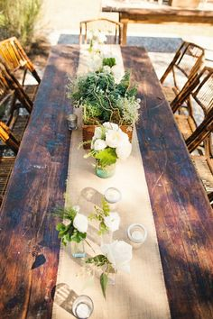 farm tables for the reception