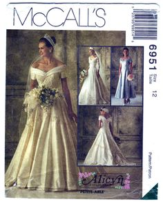 1994 McCall's 6951 Sewing Pattern Misses' Bridal Gowns and