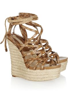 Michael Kors Leather Espadrille Wedge Sandals in Brown | Lyst