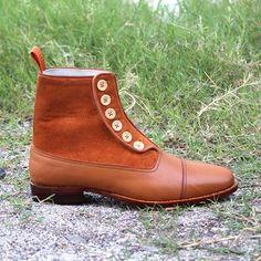 Handmade Men Button boots, Men Tan color ankle boots, Mens boots, Leather boots - Boots
