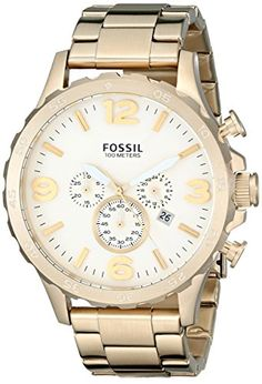 Now in stock Fossil Men's JR1479 Nate Chronograph Stainless Steel Watch - Gold-Tone