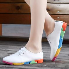 386cb2f4fb3d Autumn Spring New Lace Leather Women Flat White Shoes Pointed Deep Mouth  Soft Bottom Leisure Flat