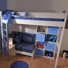 Stompa Casa 7 High Sleeper with Sofa Bed & Cupboards