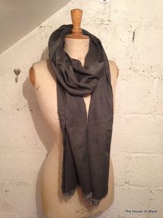 Charcoal Grey Cotton Molly Scarf  100% cotton  Measures approx. 70cms x 220cms  Frayed either end of scarf  Care: Hand wash only  Hand made in