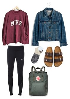 """School day"" by katiebug1031 on Polyvore featuring NIKE, Madewell, Birkenstock, Hansel from Basel and Fjällräven"