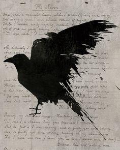 The raven Poem - Nevermore - Gothic art print - Edgar Allan Poe - Black bird art - Geekery art - Modern decor - dramatic dark art. $9.99, via Etsy.