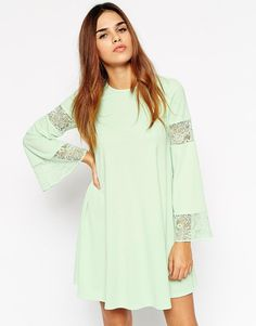 ASOS Boho Swing Dress With Long Sleeve And Lace Inserts $52 $24