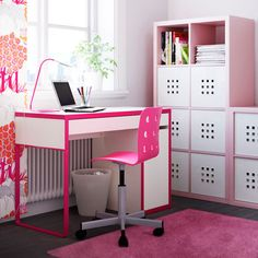 pink and white desk