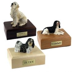 Figurine Pet Urns with custom wood bases and nameplates
