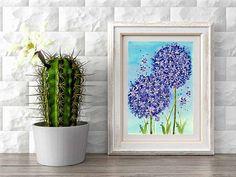 Watercolor purple allium flower print, painting, Spring flowers