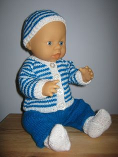 Cardigan, trousers and hat for 15-16 inch baby doll free knitting pattern