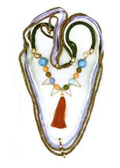 BLUE-PURPLE WOOL NECKLACE WITH BROWN TASSEL Washer Necklace, Beaded Necklace, Handmade Bracelets, Purple, Blue, Tassels, Jewellery, Wool, Chic