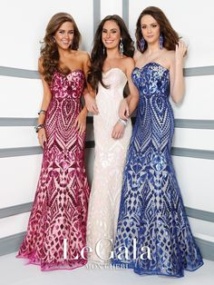 Strapless sequin fit and flare gown with sweetheart neckline. Removable straps included. Sizes:0 – 20 Colors:Fuchsia/Nude, White/Pink, Royal Blue/Nude