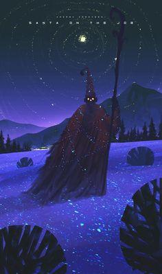 Santa on the job - 30 min Speedpaint (Andrea Koroveshi). Fantasy Landscape, Landscape Art, Drawn Art, Arte Obscura, Wow Art, Anime Scenery, Sci Fi Art, Fantasy Artwork, Fantasy World