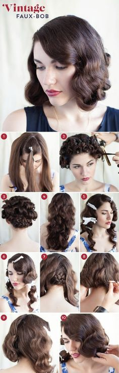 A 1920s Faux-Bob - 12 Vintage-Inspired DIY Hairstyle Tutorials | GleamItUp