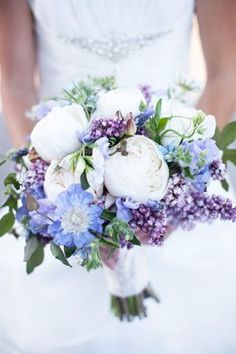 White peonies and lavender