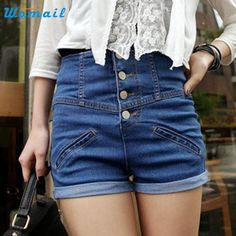 8.37$  Watch now - http://ali8ow.shopchina.info/go.php?t=32789580892 - Womens Girl High Waist Lady Shorts Jeans Pants Vintage Cuffed Denim Shorts pantalones cortos mujer Amazing 8.37$ #aliexpress