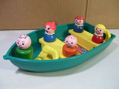 Vintage Fisher Price Little People Boat with 5 Wood Family Figures 1972 Camping | eBay