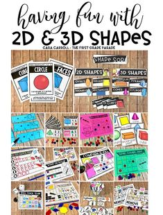 2D & 3D Shapes Activities - Your Kindergarten & First Graders will LOVE these hands-on math games & activities that reinforce foundational concepts in 2D & 3D shapes!