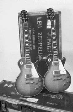 Jimmy's Page's Les Pauls. #page, #zepplin, #lespaul, #bands, #rockbands, #guitarists, #rockmusic, #rocknroll, #music, #rockicons, #guitars