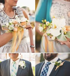 beautiful rhinestone pin detail on that bouquet. And I'm really liking the mix and match men's plaid ties