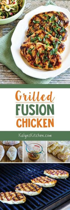 This delicious Grilled Fusion Chicken has a wonderful combination of flavors, and this tasty chicken is low-carb, gluten-free, and South Beach Diet Phase One. [found on KalynsKitchen.com]