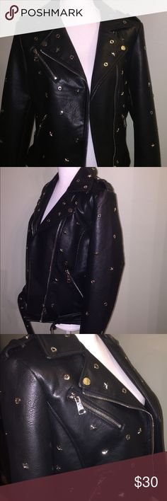 Faux leather biker jacket Cool jacket studded with stars and grommets. Metal zippers with a belt around the waist. Vigoss Jackets & Coats