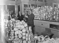PH 13789. Food for Britain packing room at Town Hall, 1946.