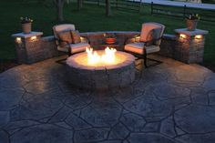 stamped concrete patio flooring fire pit outdoor furnitute