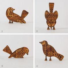 Wooden birds.