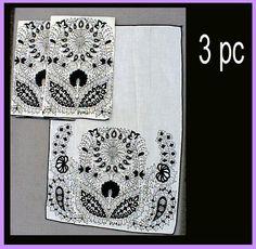 Vintage Vera Neumann Black and White Towels or Napkins Marimekko Style