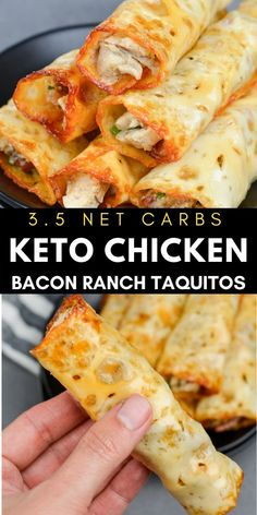 These quick and easy Keto Chicken Bacon Ranch Taquitos are the perfect low carb appetizer or snack!  #keto #bacon Low Carb Appetizers, Easy Appetizer Recipes, Dinner Recipes, Lunch Recipes, Breakfast Recipes, Ketogenic Recipes, Low Carb Recipes, Cooking Recipes, Keto Chicken