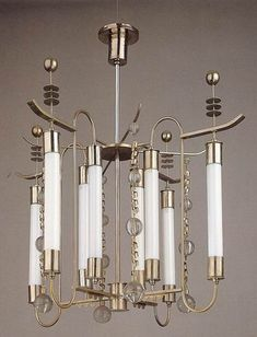 1930's Art Deco chandelier by Franz Haegele.
