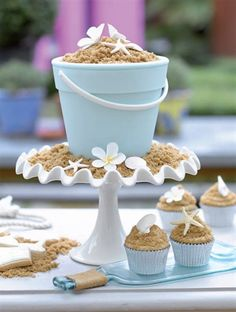 Sand bucket cake- I like the cupcakes if we need more cake they would make a nice touch around the sandcastle :)