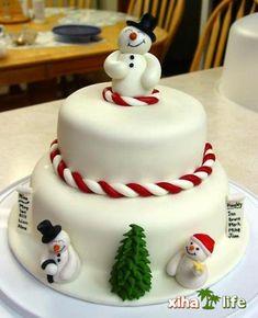 Cute snowmen cake.